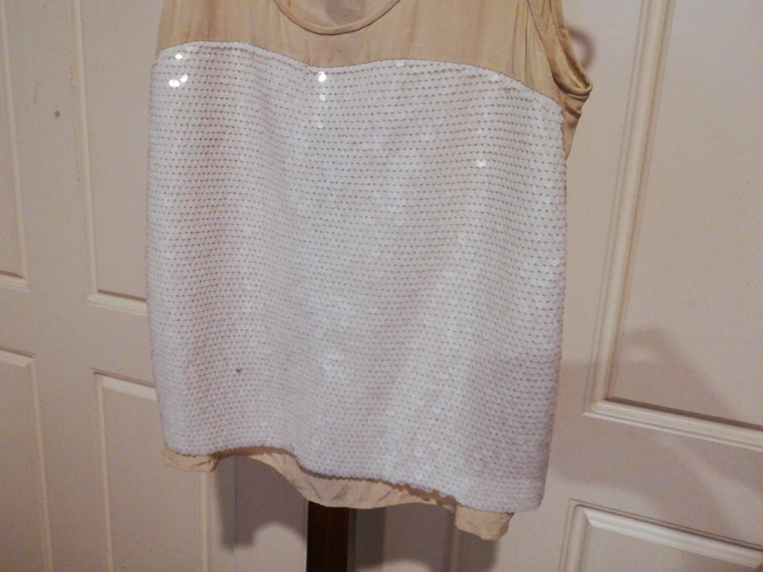 XS - Country Road - Sequined Cream Lightweight Singlet Top