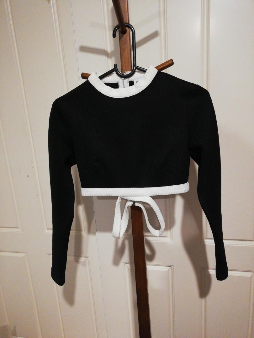 XS - Tiger Mist - Black Crop Top w White Waist Loops