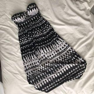 Strapless Patterned Hi-Lo Dress
