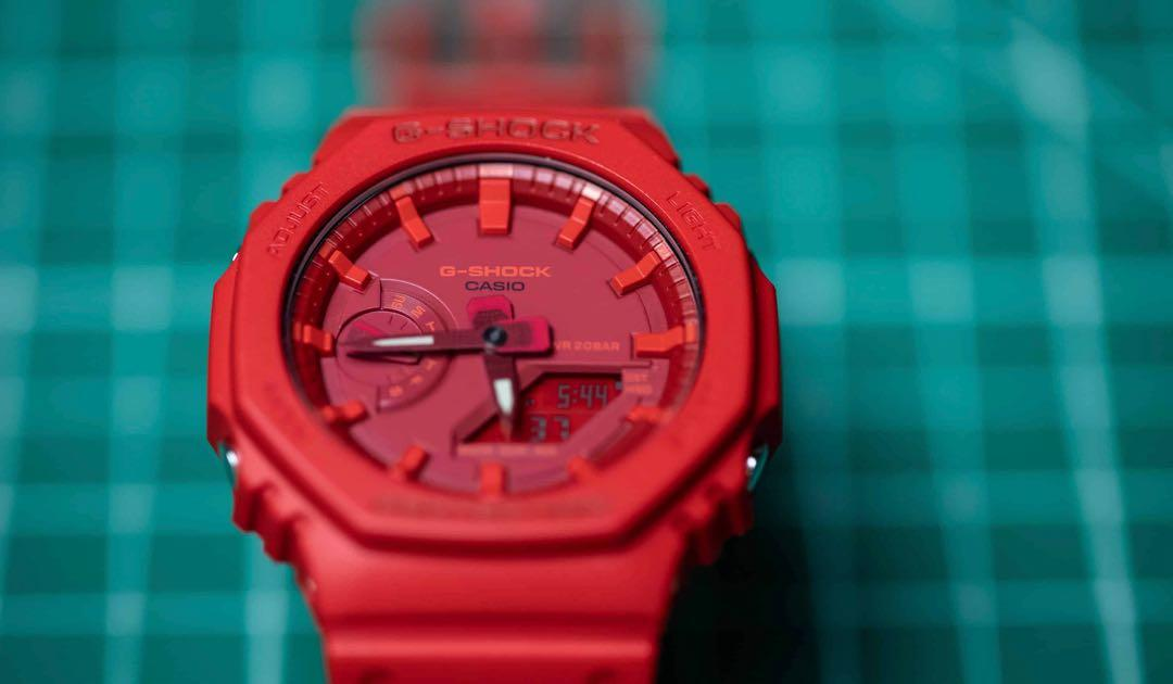 100% Authentic New Casio G-Shock Hot Red Carbon core guard GA-2100-4A ga2100 AP offshore Royal Oak Hublot lookalike watch