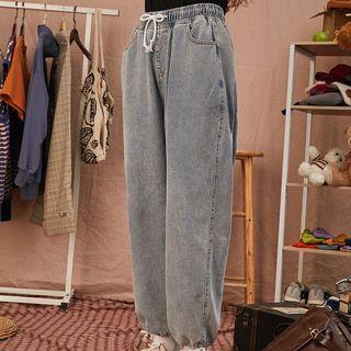牛仔束口寬褲 復古風格