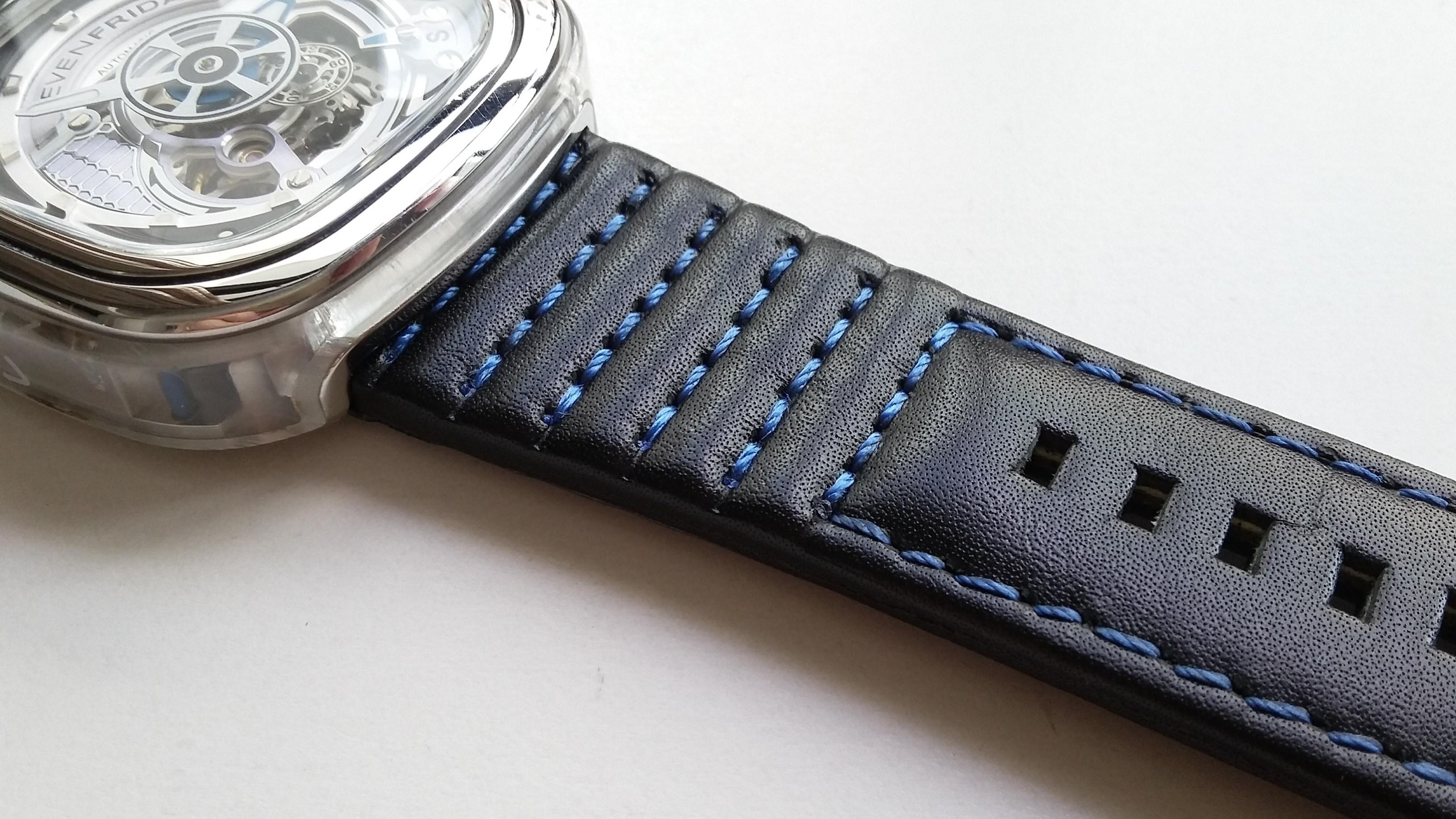 28mm GENUINE THICK BLACK LEATHER STRAP HAND SEWN W BLUE STITCHES AND STAINLESS STEEL BUCKLE FOR USE ON SEVENFRIDAY (PRICE INCLUDES FITMENT)