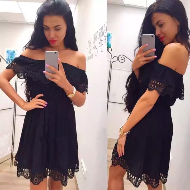 🖤 Black Off Shoulder Summer Dress Size Medium - EUC