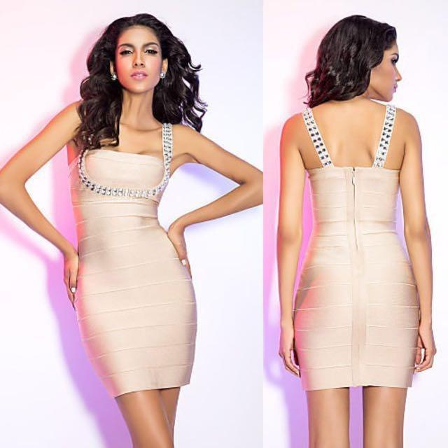 🍑💕 Pastel Peach-Pink Diamanté Bandage Dress Size 10 New Without Tags
