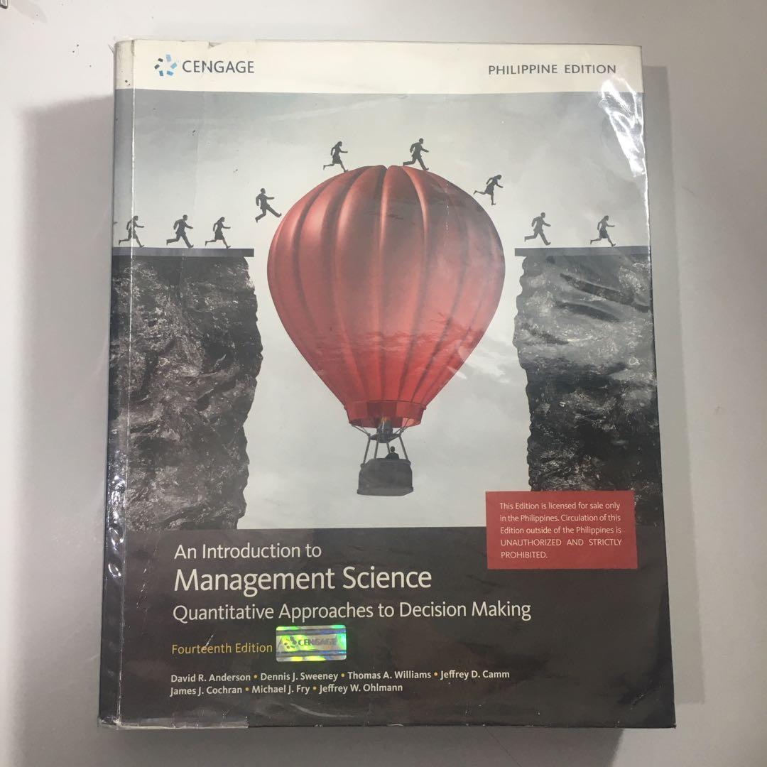 An Introduction to Management Science Quantitative Approaches to Decision Making Fourteenth Edition (Cengage)
