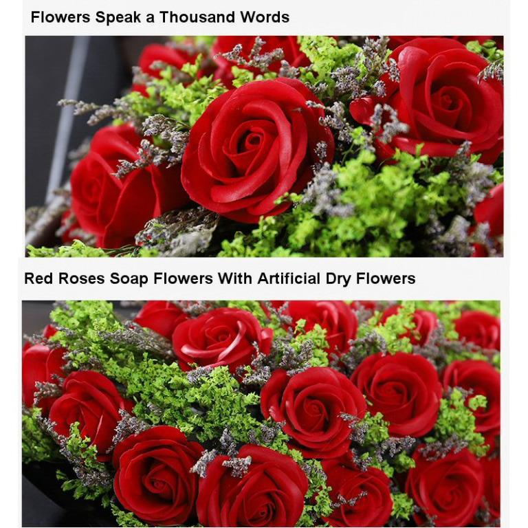 Artificial Flowers Red Roses Wedding Soap Flowers LED Proposal Flower