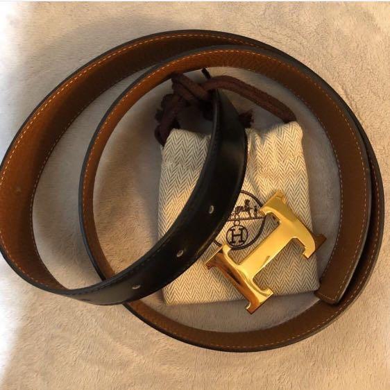 AUTHENTIC 💯 Hermes 32mm Gold Buckle Black/Gold Reversible 90cm Belt Stamp P