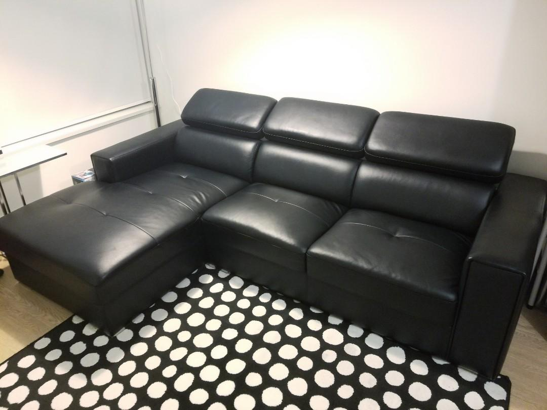 Black Leather Sectional Sofa W/ Adjustable Headrest and Storage