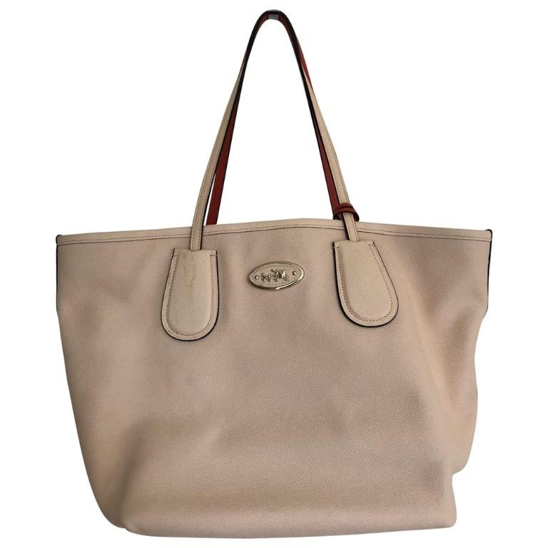 Coach Taxi Zip In Two Colorblock Crossgrain Apricot and Coral Leather Tote
