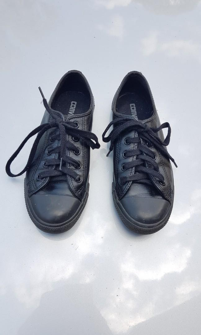Converse Leather All Black Low Cut Sneakers Size 6US- Free Postage