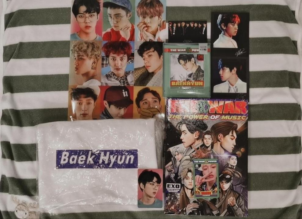 EXO POWER ALBUM OFFICIAL, BAEKHYUN T-SHIRT AND BAEKHYUN OFFICIAL NATURE REPUBLIC FACEMASK