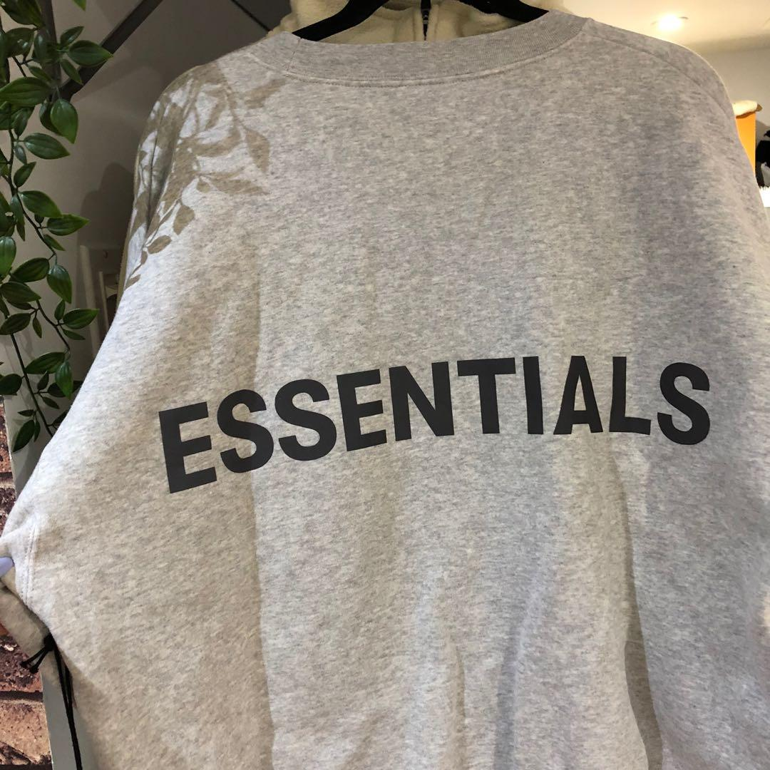 FEAR OF GOD ESSENTIALS grey reflective pullover sweater