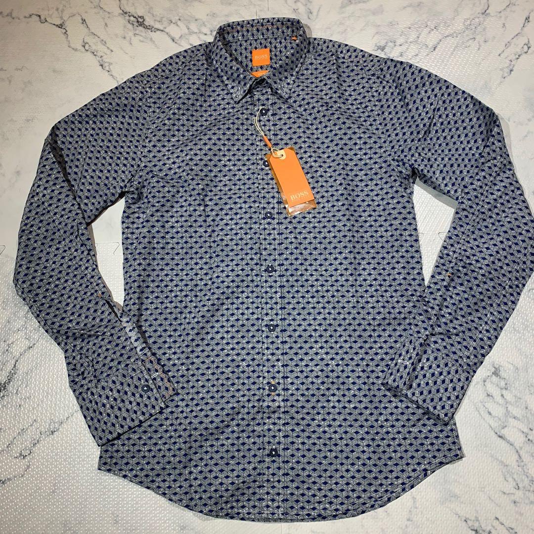 Hugo Boss Printed Long Sleeve Slim Fit Woven Shirt Small