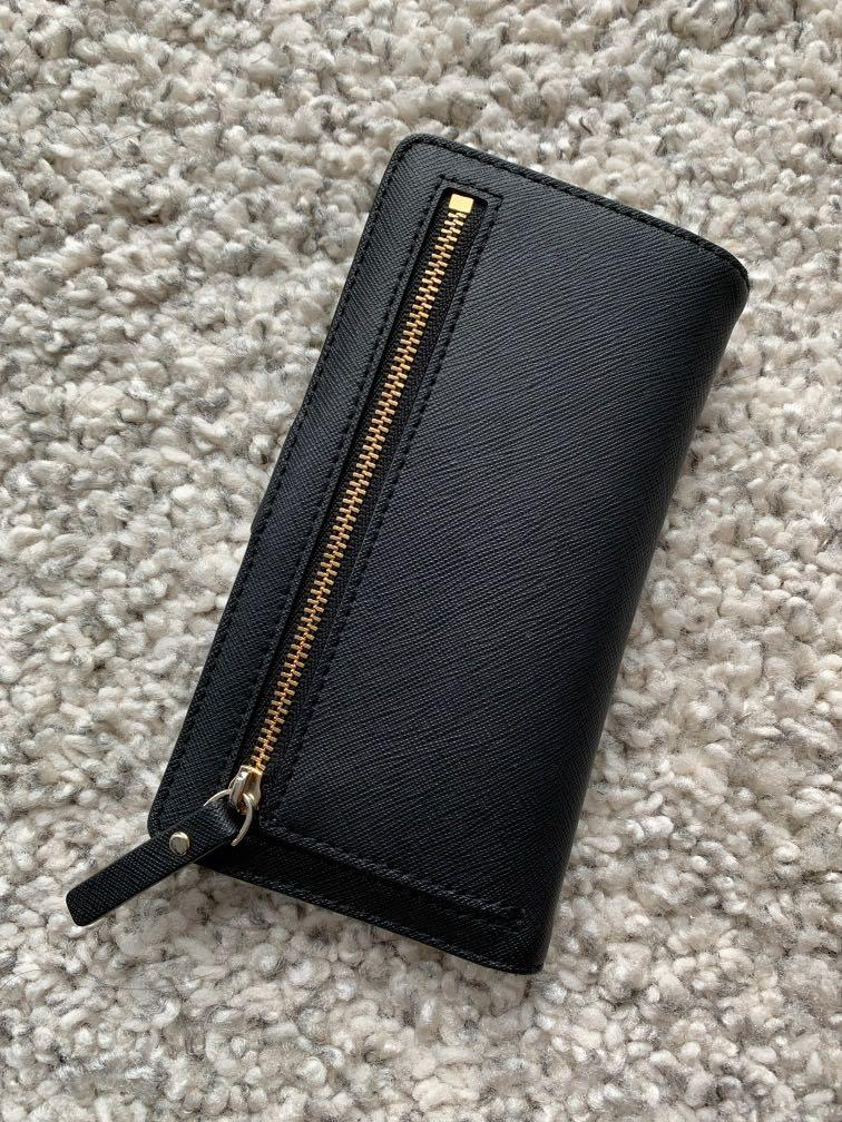Kate Spade Womens Eva Large Slim Bifold Wallet Black