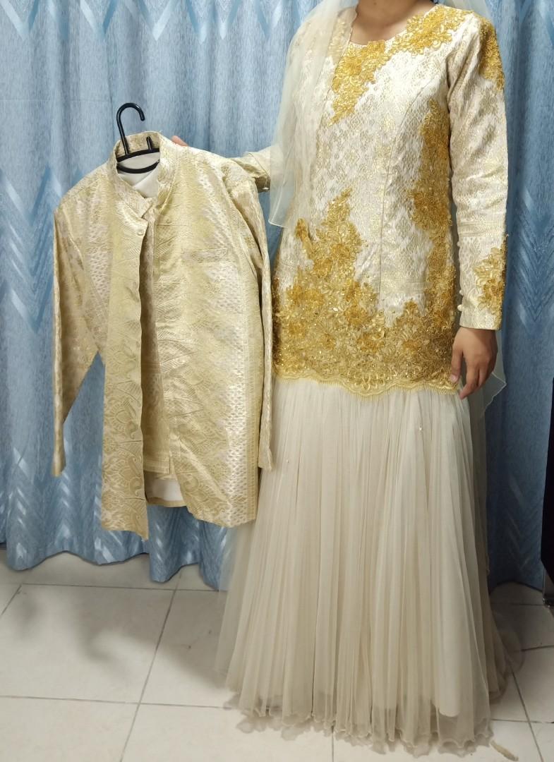 Sepasang L&P Baju Pengantin Cream Gold Songket