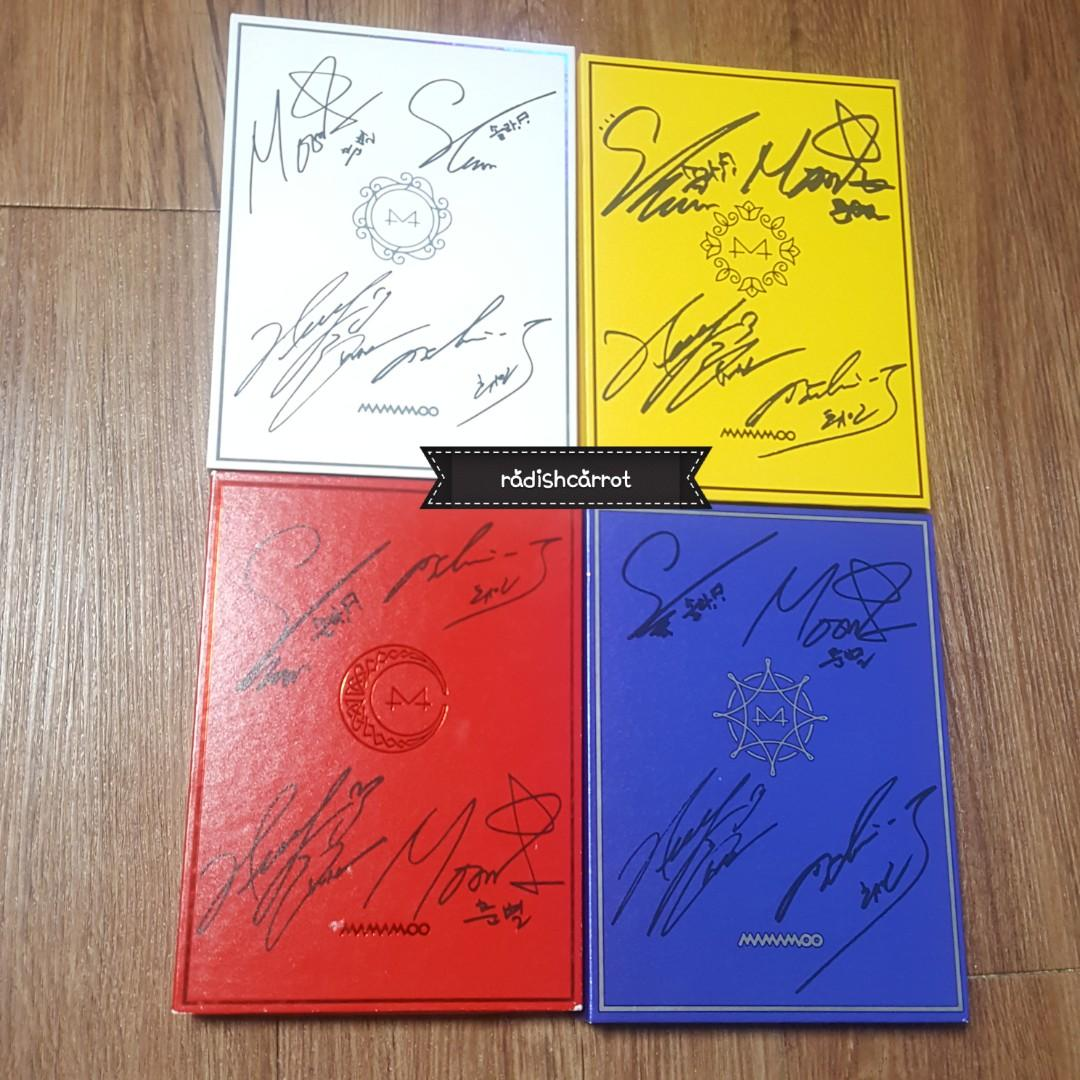 MAMAMOO SIGNED ALBUM YELLOW FLOWER RED MOON BLUE'S WHITE WIND
