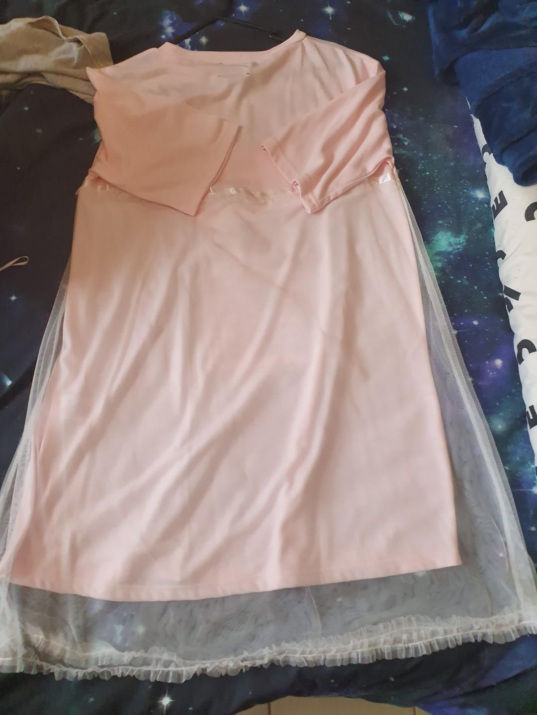 NEW - LISTEN FLAVOR HARAJUKU Sheerly Chocolate Tulle Overlay Ribbon Cutsew Dress
