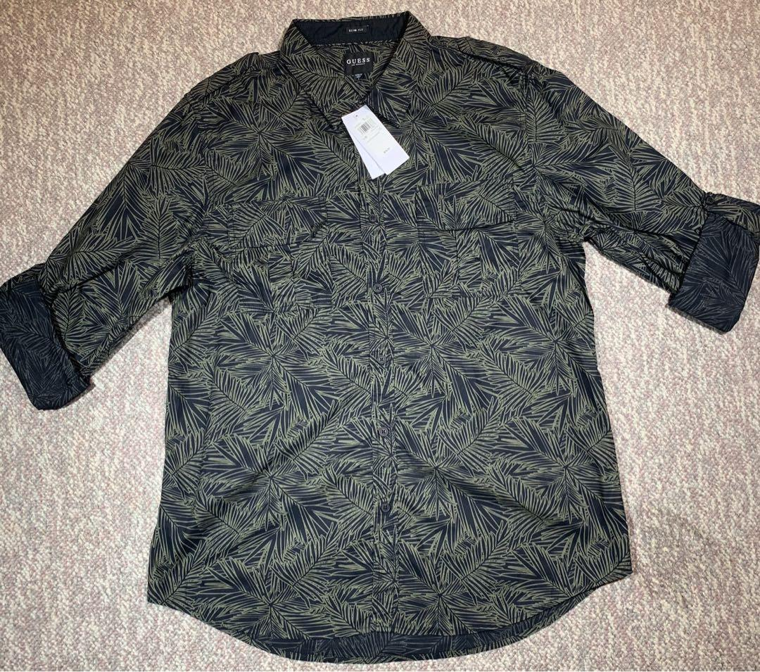 NWT Guess Roll-Tab Sleeves Military Palm Graphic Men's Shirt Large
