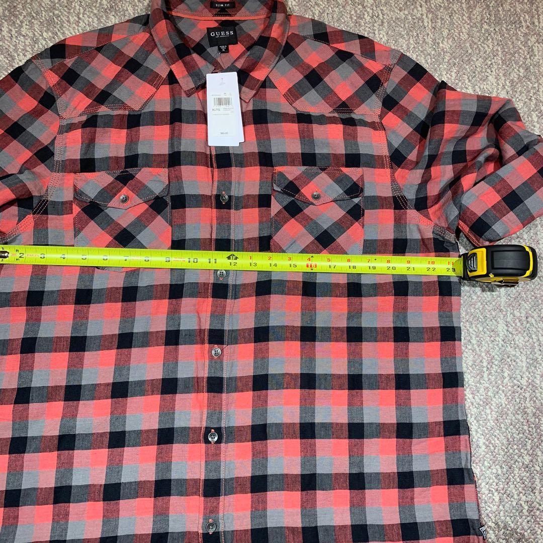 NWT Guess Walker Plaid Men's Long Roll-Tab Sleeves Slim Shirt XL