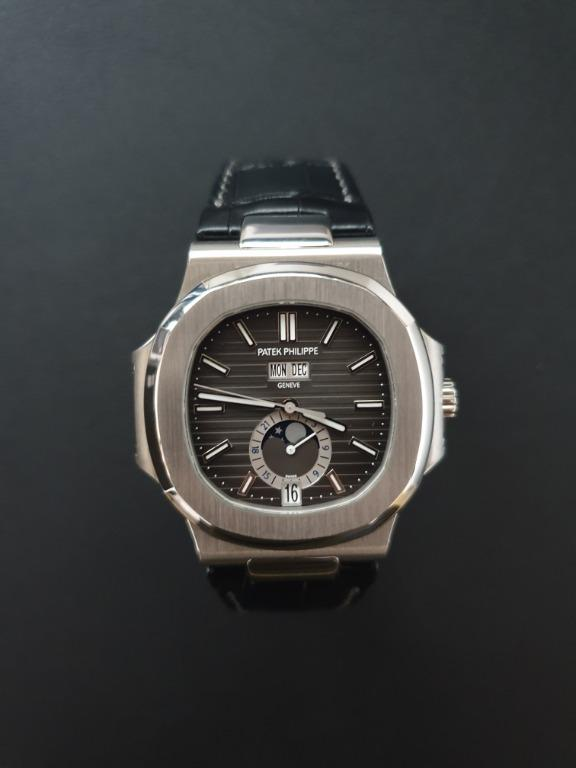 Patek Philippe 5726A-001 Nautilus Annual Calendar Moon Phases SS Auto 40.5mm Black Index Dial SS Deployant Buckle