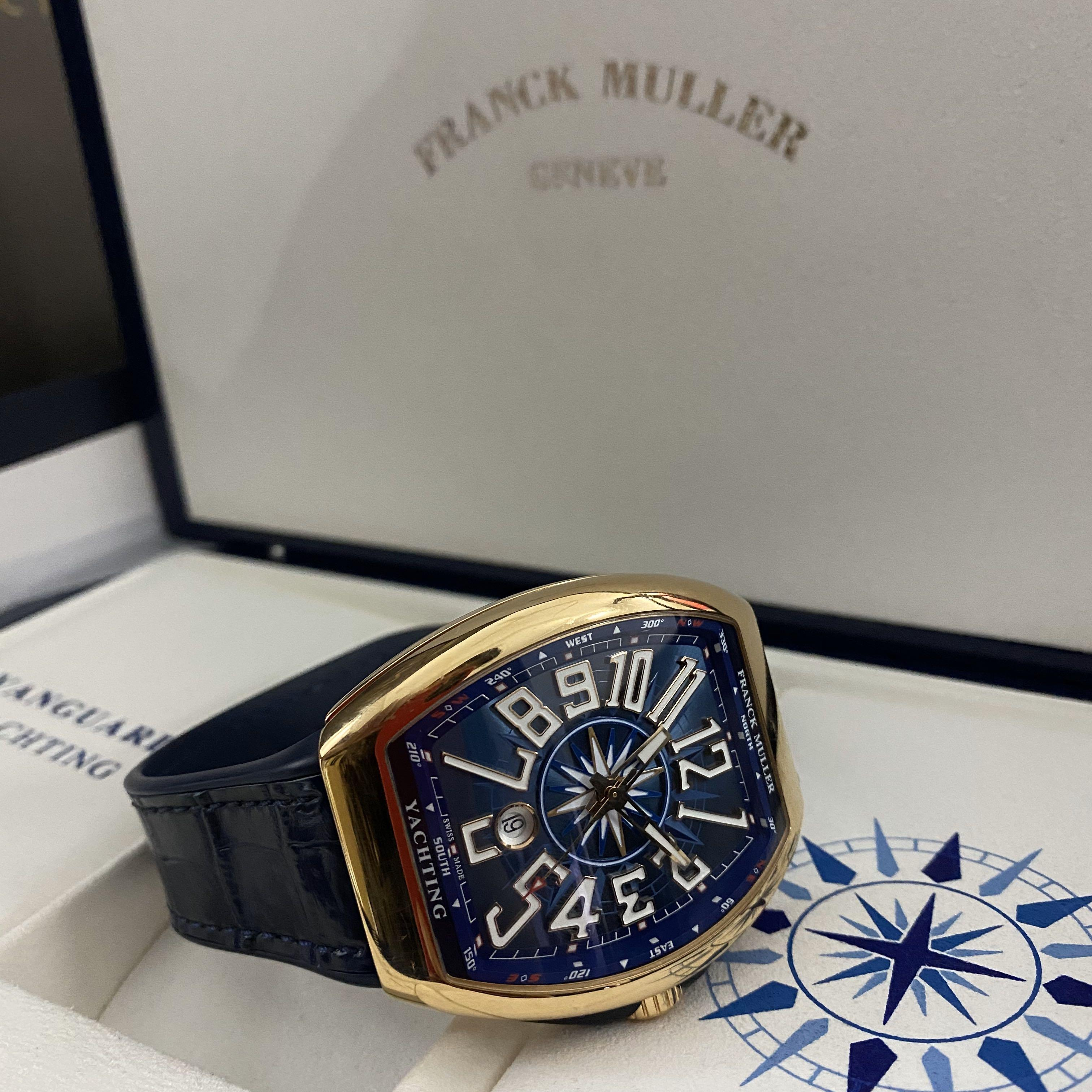 Pre Owned Franck Muller Vanguard Yatching V45 SC DT Blue Dial Automatic Everose Rose Gold Casing Leather