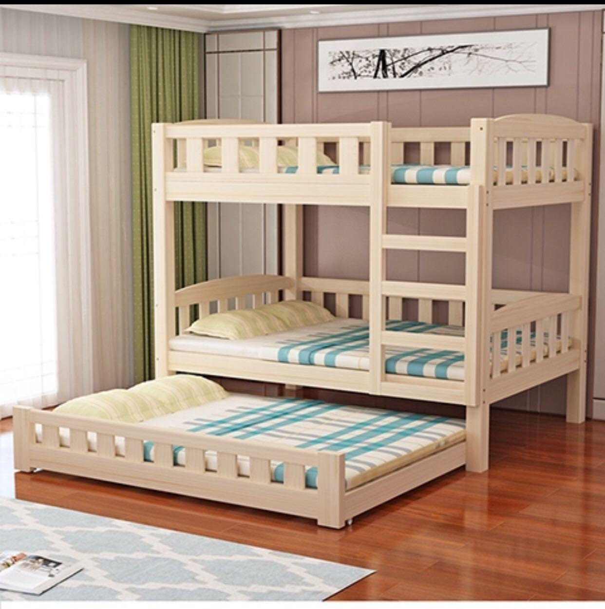 Preorder Triple Bed Frame Pull Out Bed And Bunk Bed Furniture Beds Mattresses On Carousell