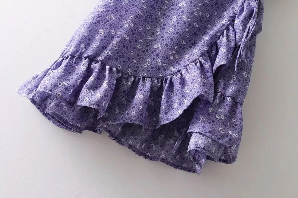Purple Floral Short Sleeve Ruffle Wrap Dress Size 10-12 EUC