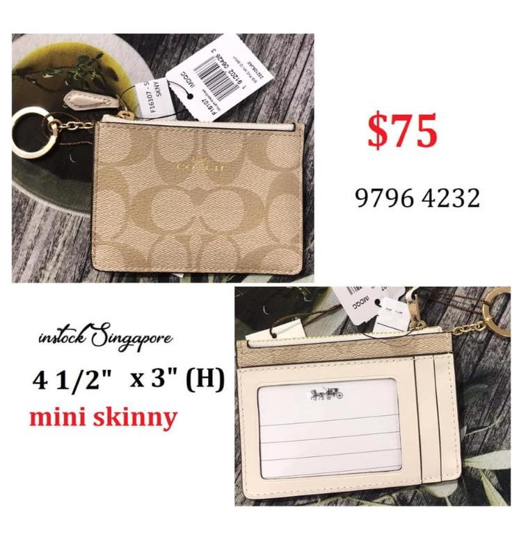 READY STOCK - AUTHENTIC - NEW COACH MINI SKINNY ID CASE IN SIGNATURE COATED CANVAS (COACH F16107)