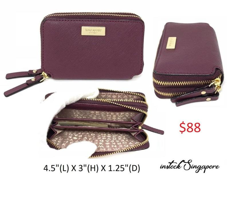 READY STOCK authentic new  KATE SPADE LAUREL WAY ROSIE DOUBLE ZIP AROUND CASE DEEP PLUM WALLET WLRU4878