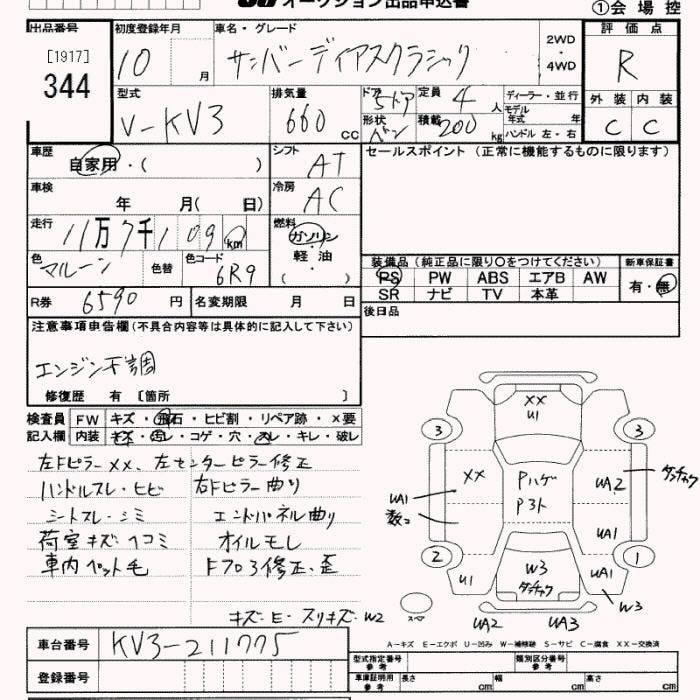 Subaru SAMBAR  KV3 Auto