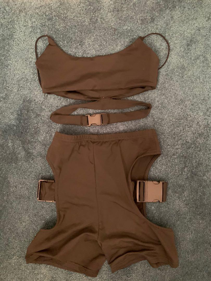 Two piece rave wear set, buckle top and biker shorts