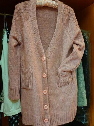 粉色針織長版毛衣外套