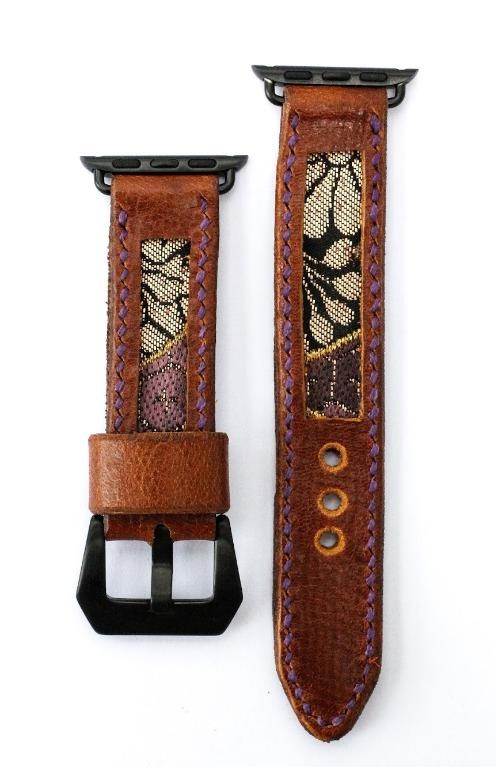 47Ronin#012 Leather watch strap with Kimono fabric (20mm, Brown leather, Black & gold fabric, Purple thread)