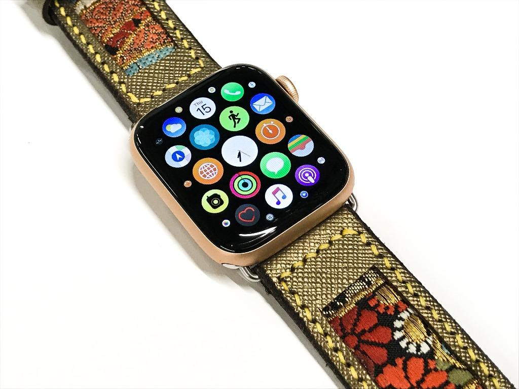 47Ronin#016 Leather watch strap with Kimono fabric (24mm, leather with golden coating, Black, gold, red & blue Kimono fabric, Yellow stitches
