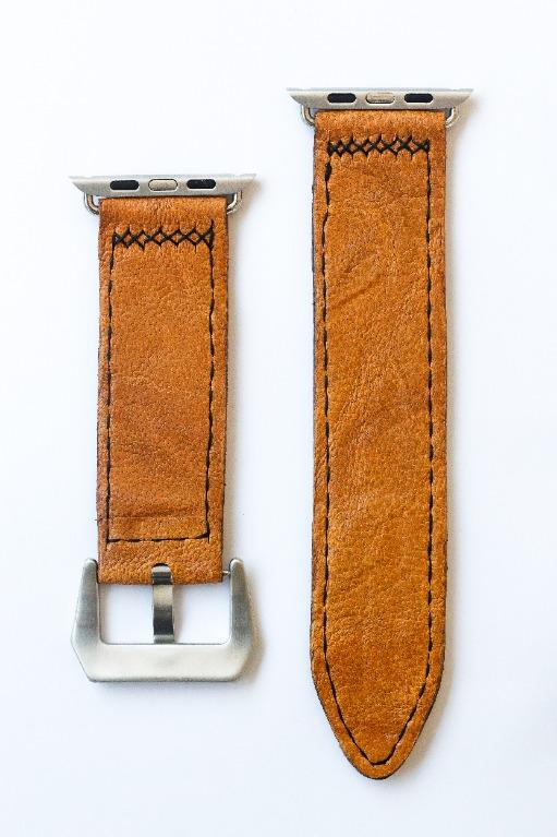 47Ronin#019 Leather watch strap with Tatami edge fabric (24mm, light brown leather, with Green & gold Tatami edge fabric, Black stitches)