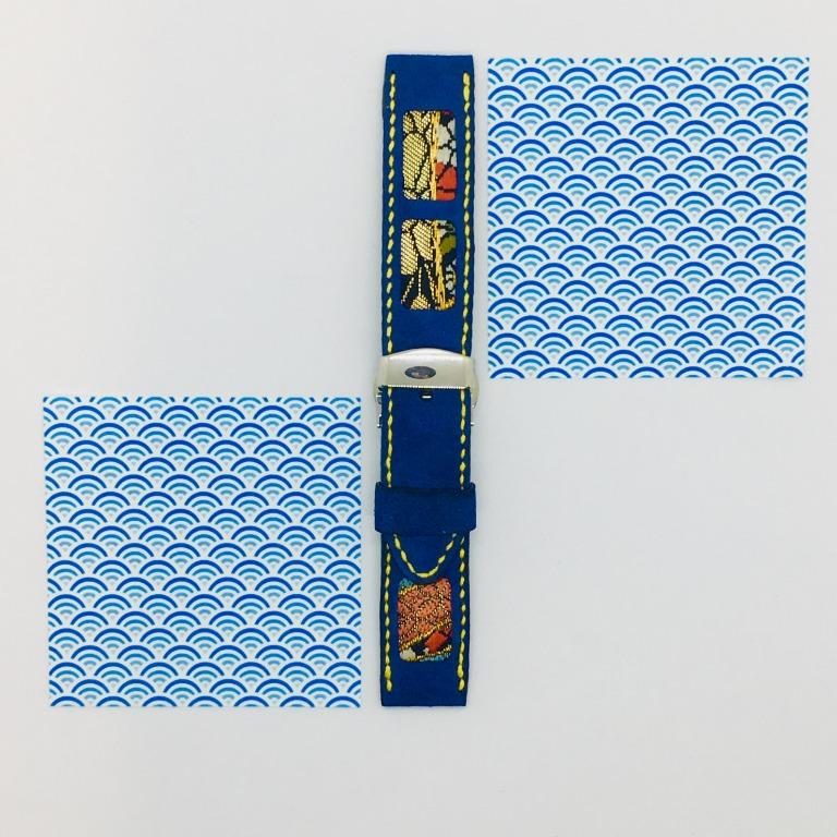 47Ronin#049 Navy blue goat leather watch strap with Kimono fabric from Japan (20mm, yellow stitches)