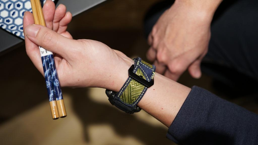 47Ronin#050 Navy blue goat leather watch strap with Match Green Tatamiberi from Japan (26mm, yellow stitches)