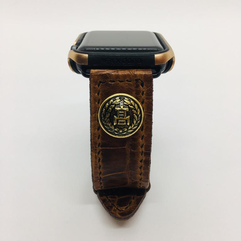 47Ronin#060 Dark brown calf leather with Crocodile print watch strap with Japanese school uniform button (22mm, black stitches)
