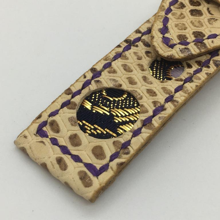 47Ronin#061 Walnut brown calf leather with Snake print watch strap, Japanese kimono fabric (21mm, purple stitches)
