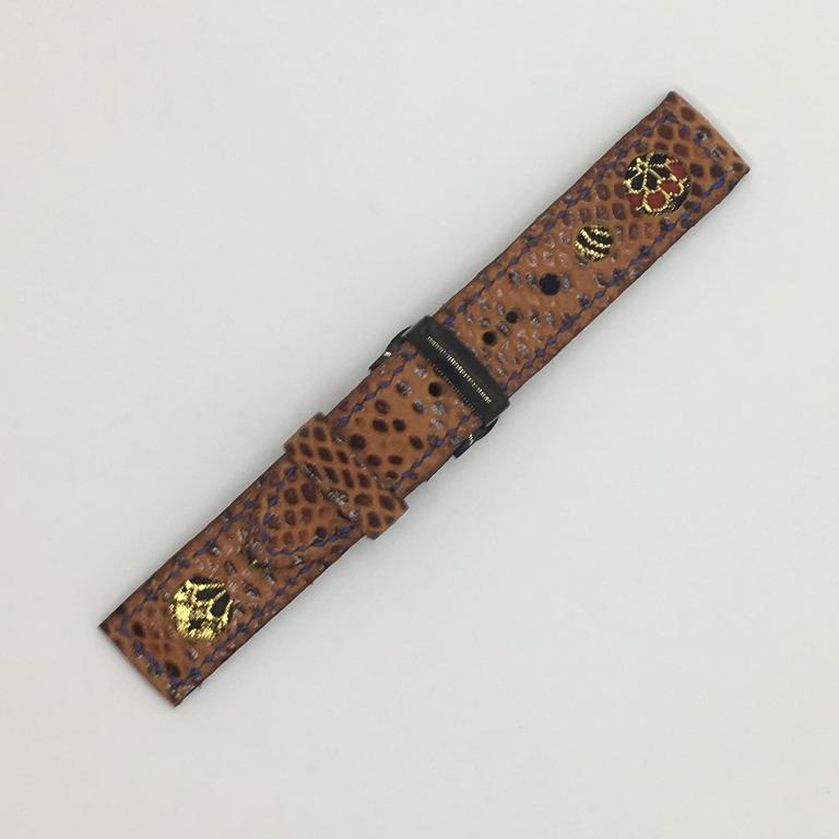 47Ronin#065 Russet brown calf leather with reptile print watch strap, Japanese kimono fabric (21mm, navy blue stitches)