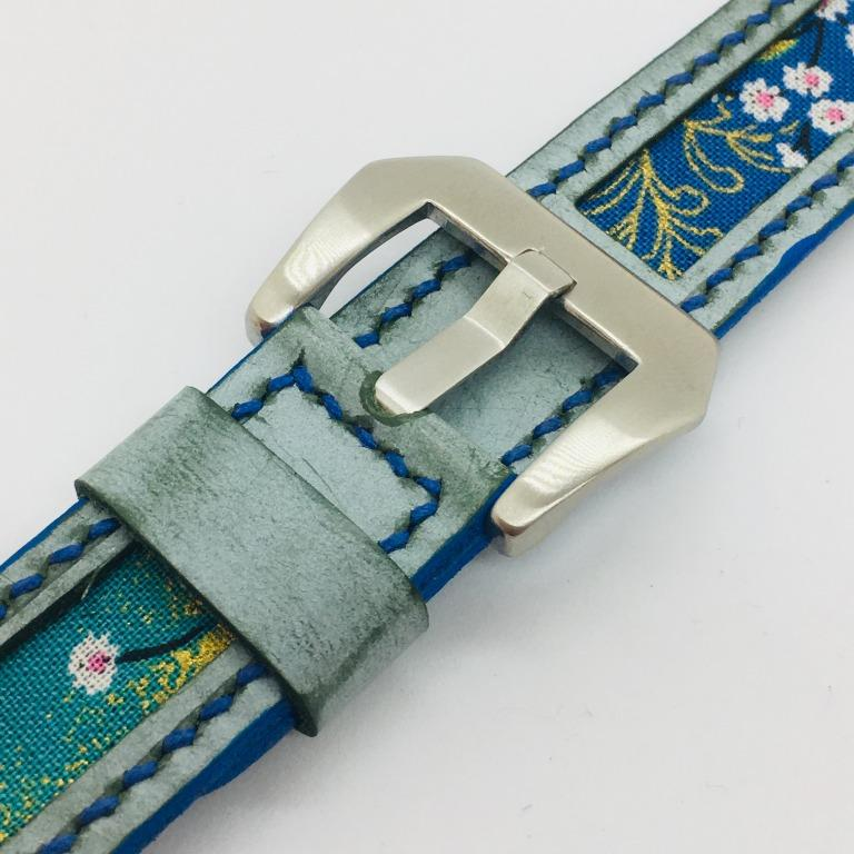 47Ronin#082 Tiffany Blue calf leather watch strap with Blue Flowery Japanese print fabric (20mm, Blue stitches)