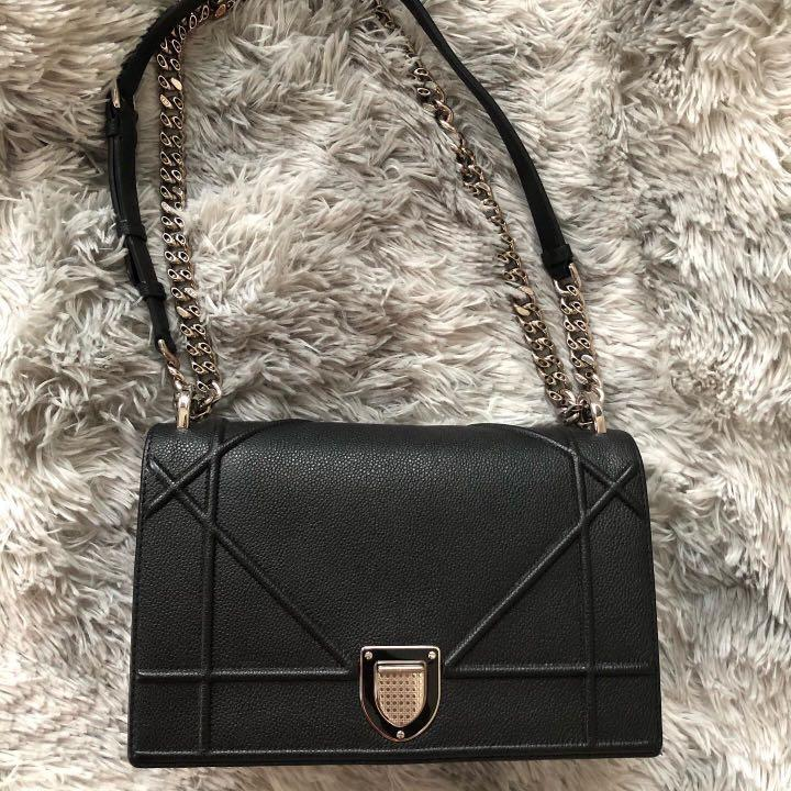 AUTHENTIC ( preloved ) Diorama Medium Black Grained Calfskin with SHW