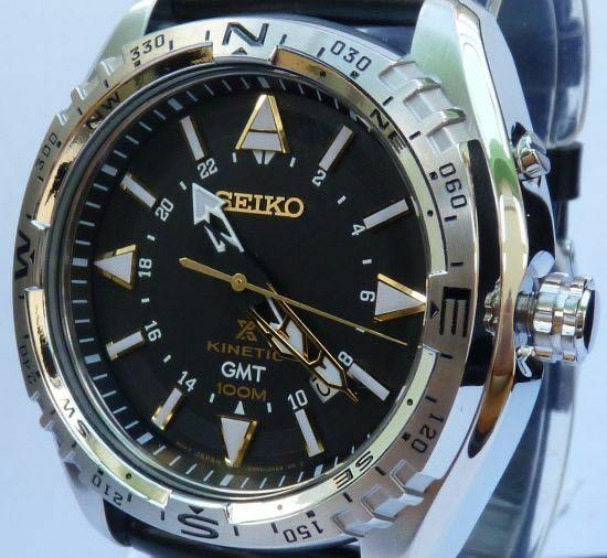 BNIB Seiko prospex land GMT KINETIC silver and black leather watch (automatic) comes with box