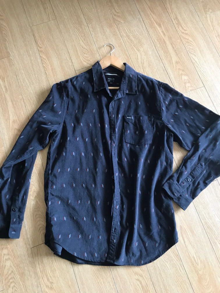 BNWOT mens Velvet feel ribbed button up shirt size L