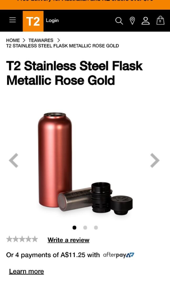 BRAND NEW T2 Stainless Steel Tea Flask – Metallic Rose Gold