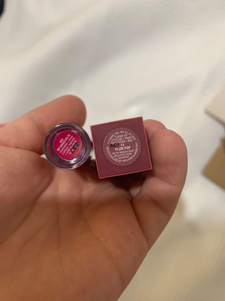 Clinique mini lipstick and lipgloss (swatched only)