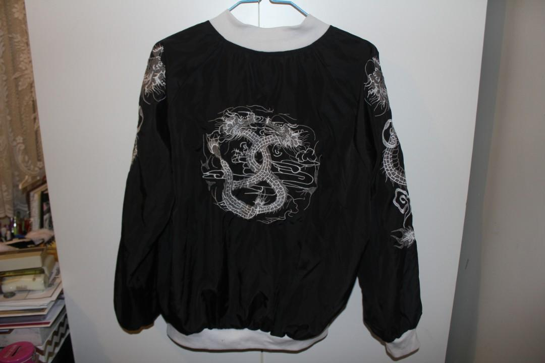 Embroidered Dragon Bomber Jacket (Asian XL/Size AU 12) :