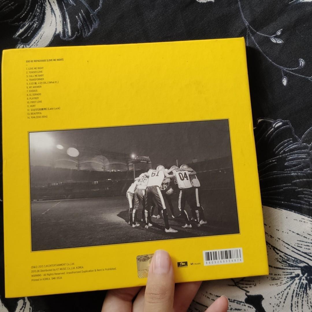 EXO LOVE ME RIGHT ALBUM (K VERSION) + OFFICIAL PHOTOCARD BAEKHYUN (FREE ONGKIR JABODETABEK)