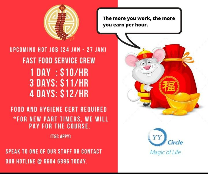 Fast food Service crew for CNY