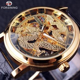 Free Shipping Forsining Chinese Dragon Skeleton Transparent Case Gold Watch Mens Watch